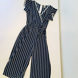 Wrapper Blue & White Striped Jumpsuit Size Small